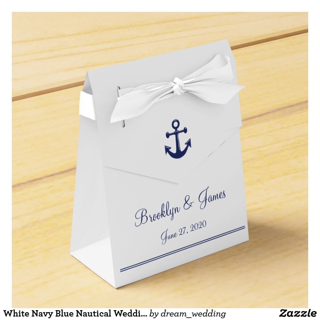White Navy Blue Nautical Wedding Favor Boxes Tent | Nautical wedding ...