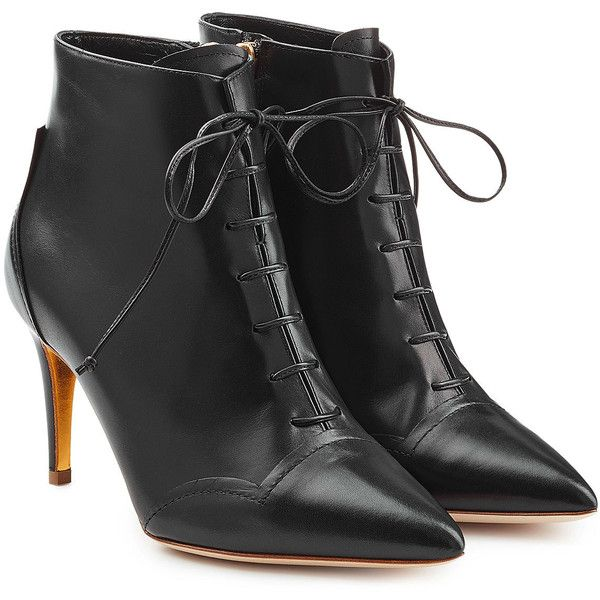 Rupert Sanderson Henty Leather Ankle Boots found on Polyvore featuring polyvore, women's fashion, shoes, boots, ankle booties, black, leather ankle boots, laced up ankle boots, black ankle booties and lace up booties