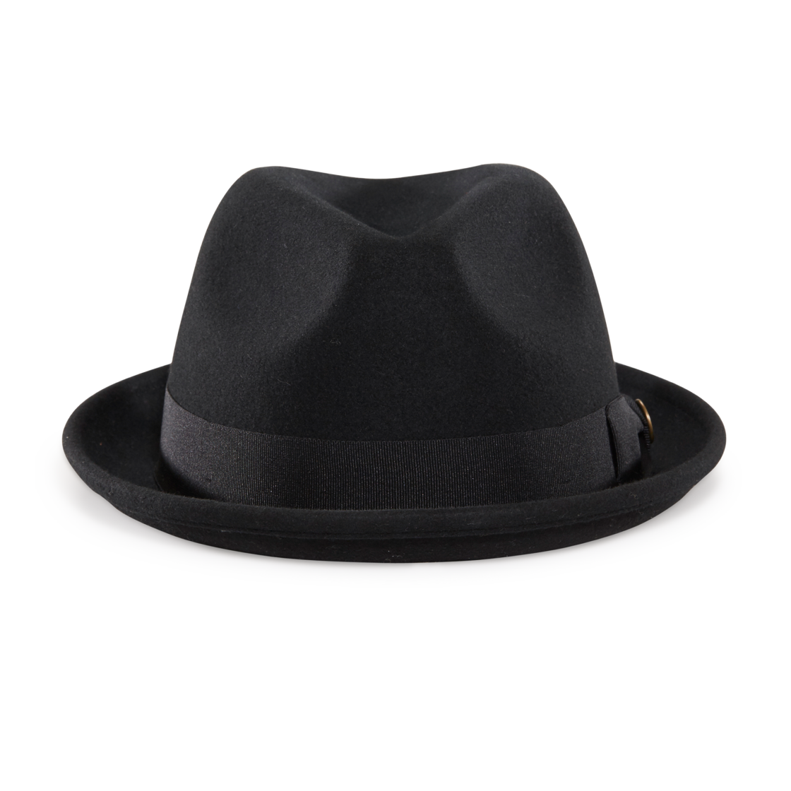 Good Boy Black felt Stingy Brim Fedora hat front view b2e31b7214f5