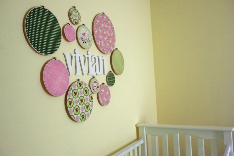Wall decor in baby girl\'s nursery made with fabric hoops - such a ...