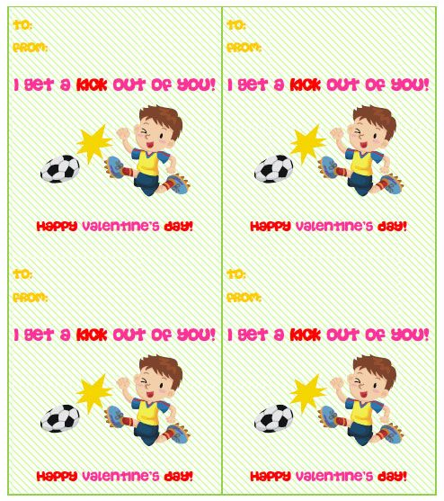 Free Printable Soccer Valentines Cards from PrintableTreats – Mushy Valentine Cards