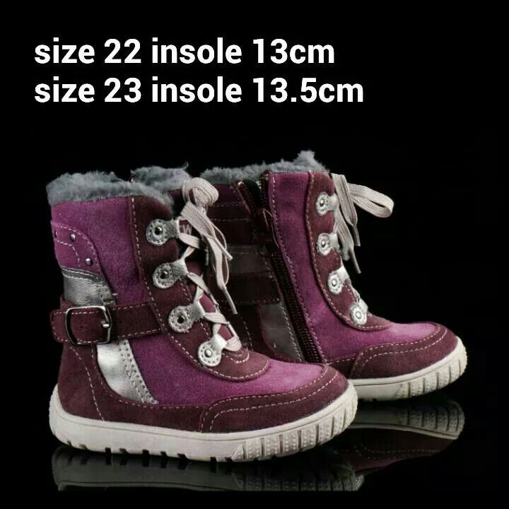 Ready Stock Kids Leather Boots Kode Caviar Purple Size 22 23
