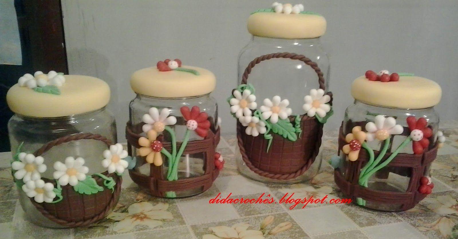 Vidros Decorados Com Biscuit Para Banheiro Pesquisa Google  ~ Potes Decorativos Para Cozinha