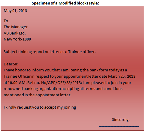 Format Business Letter Modified Blocks Style Application Pics