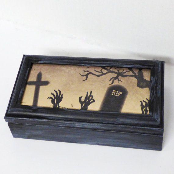 Zombie Theme Wood Trinket Box Gothic Storage Box Gothic Home Decor By Nacreous Alchemy