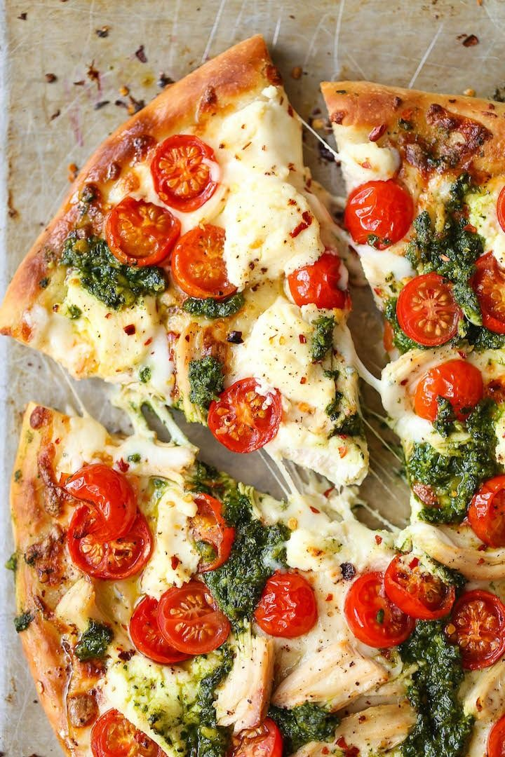 Chicken Pesto Pizza - The absolute perfect weeknight meal that comes together in minutes!