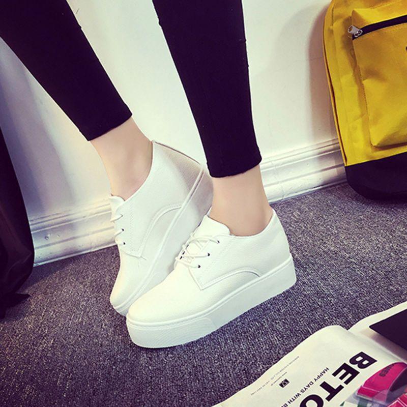 Plataforma Para Mujer de Moda de PU Blanco Tenis con Cordones Casual Zapatos Para Caminar Correr