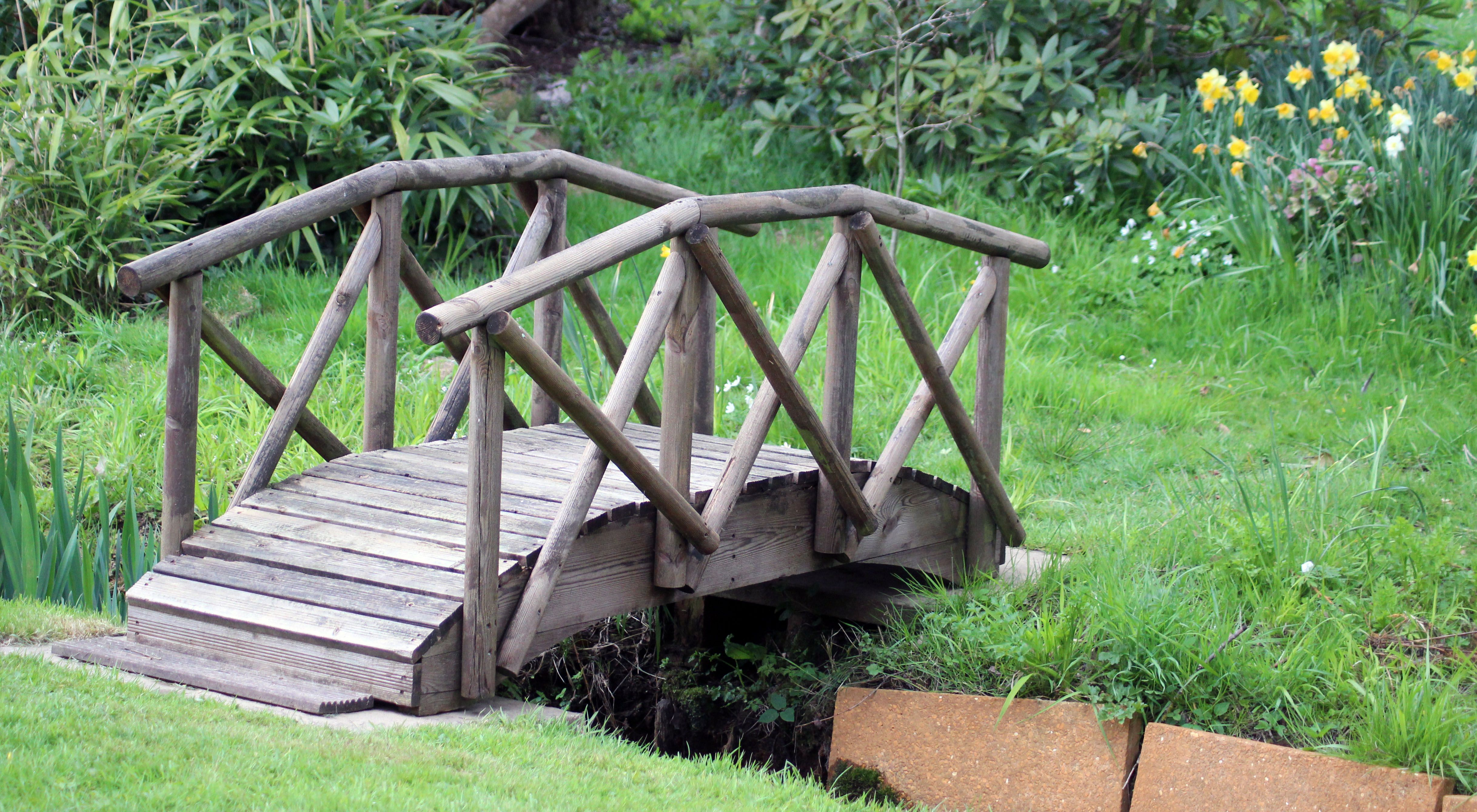 Wood Bridge Over Creek Garden Yard Ideas Backyard Landscaping