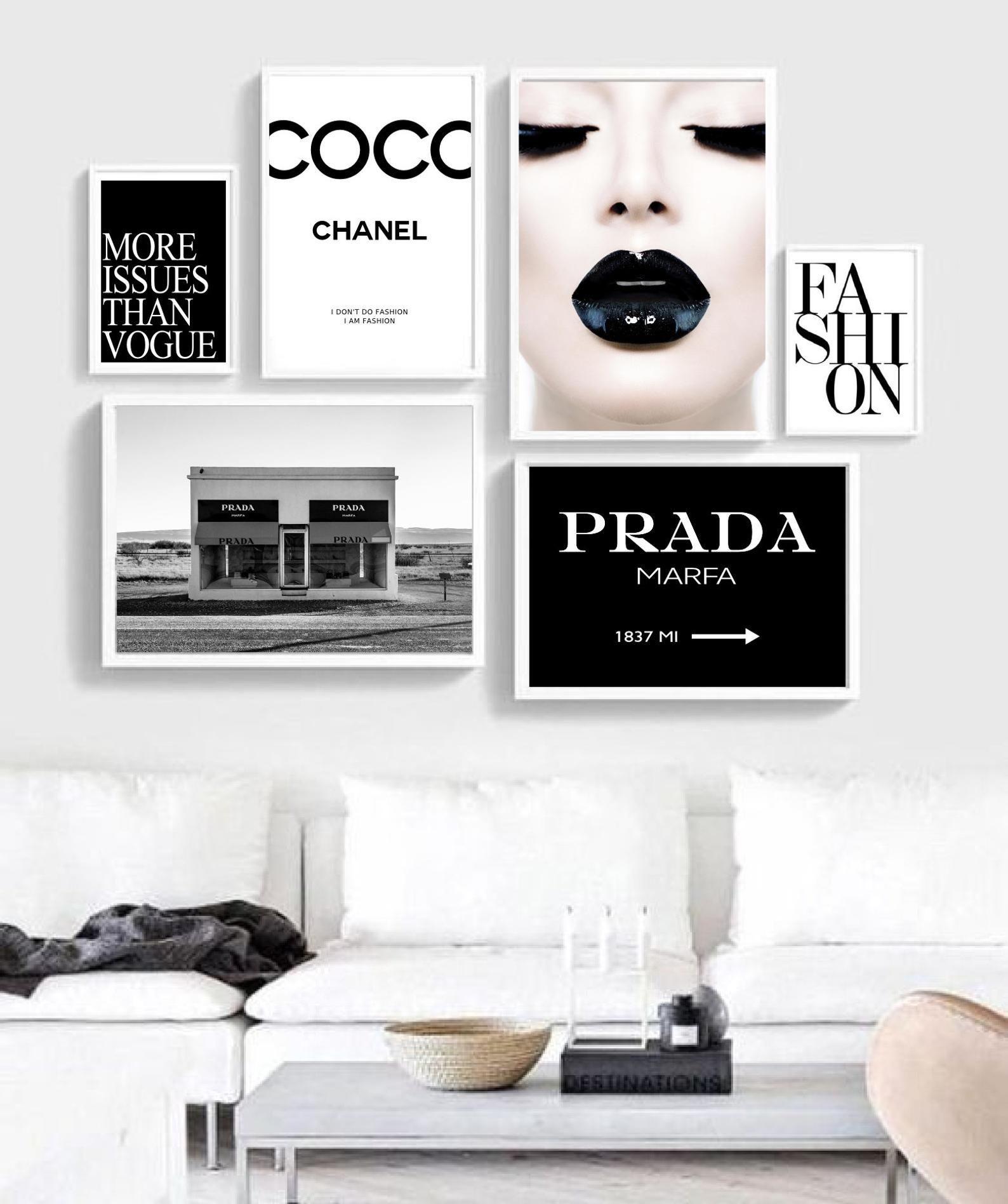 Set Of 6 Wall Art Fashion Wall Art Coco Prints Prada Wall Art Vogue Poster Fashion Print Fashion Wall Art Bedroom Decor Makeup Room Decor Chanel Room