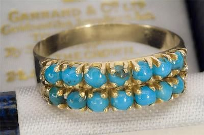 A SOLID 14ct SOLID GOLD NATURAL TURQUOISE BAND RING SIZE P (US 7.75)