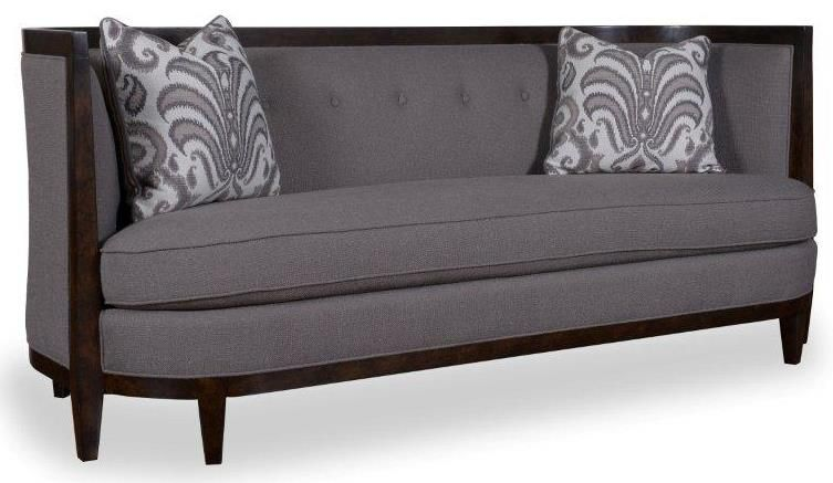 Morgan Transitional Sofa With Wood Trim, Shelter Arms, And Bench Seat  Cushion By A. Furniture Inc At Marlo Furniture