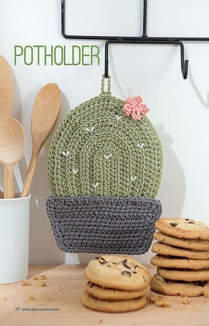 Crochet Cactus Potholder Pattern Kitchen Crochet Patterns | Crochet ...