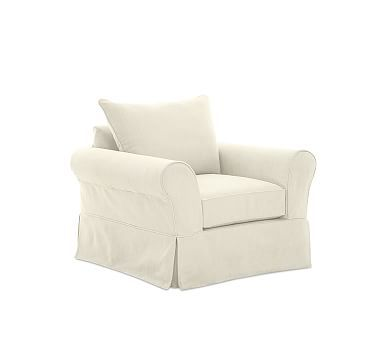 PB Comfort Roll Arm Armchair Slipcover, Knife Edge, Cushions, Premium Performance Basketweave Ivory