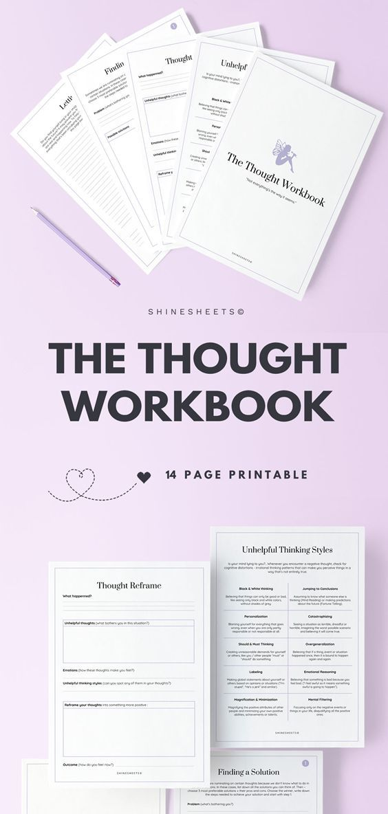 The Thought Workbook Printable / 14 Pages #mentalhealthjournal