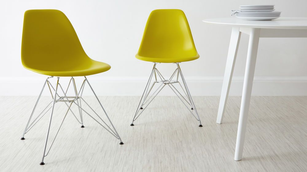 eames yellow dining chairs with metal base - Yellow Dining Chairs