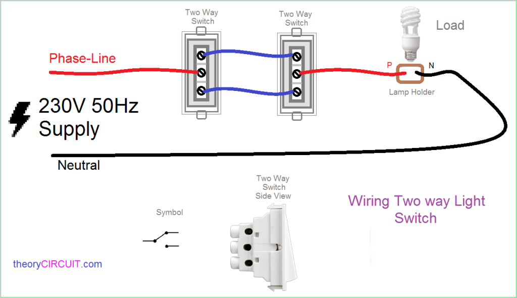 Two way Light Switch Connection | Electrical switch wiring, Electrical  switches, Light switchPinterest