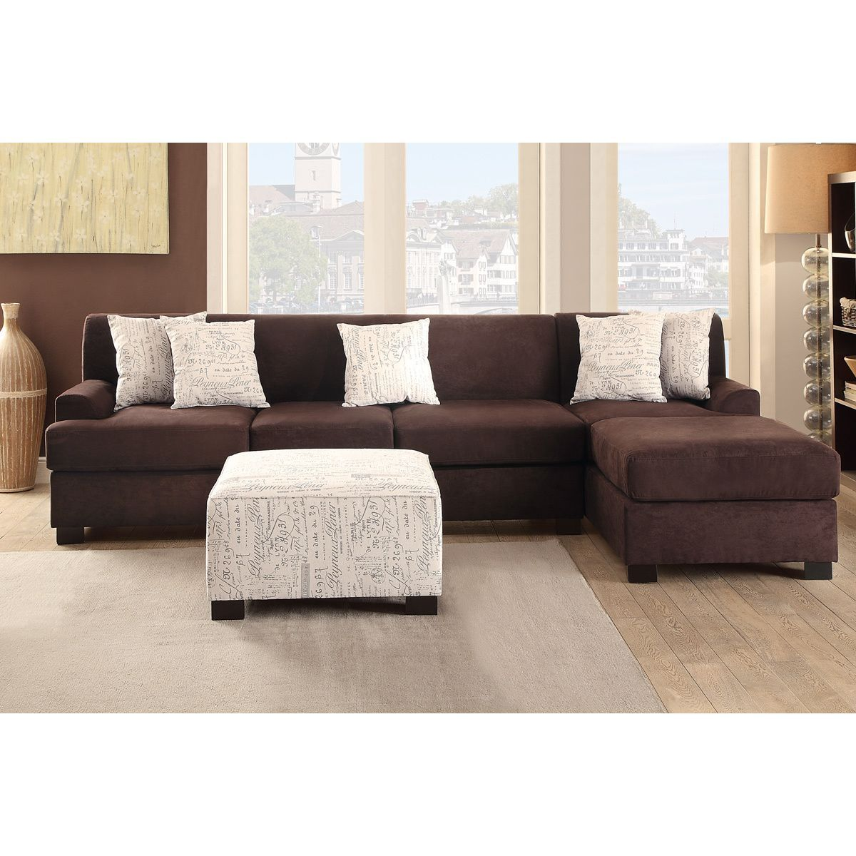 Poundex Narvik Large 2 Piece Microsuede Sectional Sofa With Matching  Ottoman (