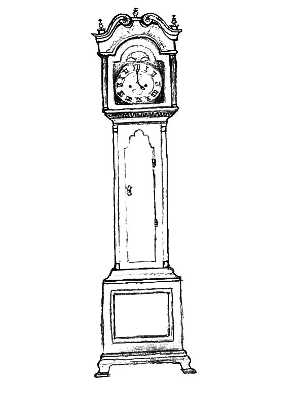 Grandfather Clock In Living Room Coloring Pages Grandfather Clock Clock Coloring Pages