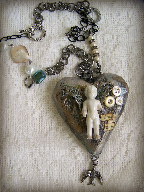 Handmade mixed media jewelry altered necklace vintage bird necklace handmade mixed media jewelry altered necklace vintage by queenbe aloadofball Gallery
