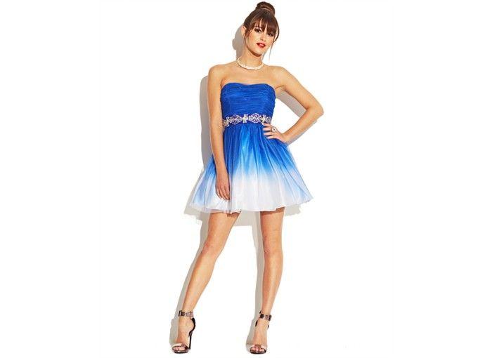 B Darlin Juniors Dress, Strapless Ombre A-Line - Juniors Dresses ...