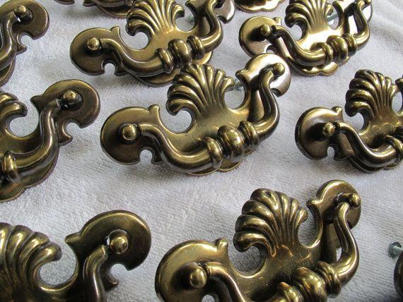 Salvaged Chippendale Style Drop Drawer Pulls 3 Inch Centres 14 Available Antiqued Brass Tone Batwing Dresser Drawer Pulls Dresser Drawer Pulls Chippendale