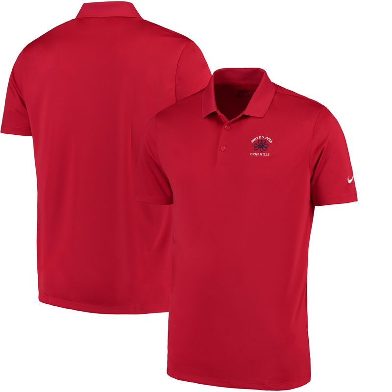 Men's 2017 U.S. Open Nike Golf Red Victory Solid Performance Polo