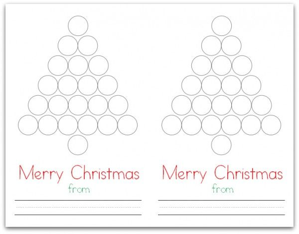 Christmas Tree Do A Dot Card Do A Dot Free Printable Christmas Cards Printable Christmas Cards