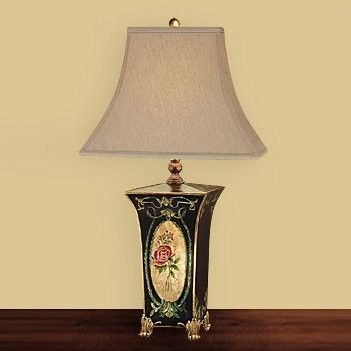 JB Hirsch J15020 Cameo Rose Square Toile Wooden Table Lamp