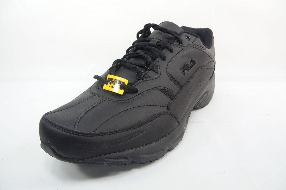 6bad479240ef Fila Men s Memory Workshift Slip Resistant Work Shoes Black Size 15 4E Wide   FILA  ATHLETIC