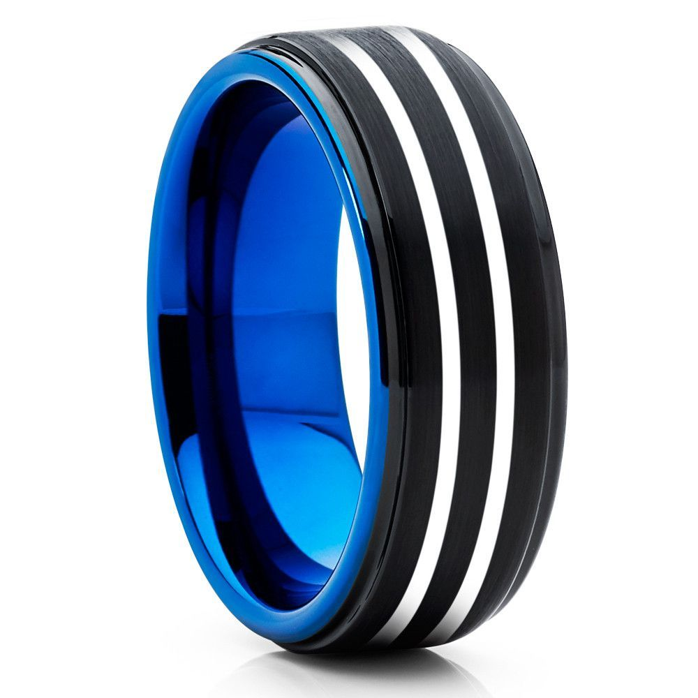 Double Silver Stripe Blue Tungsten Ring Comfort Fit