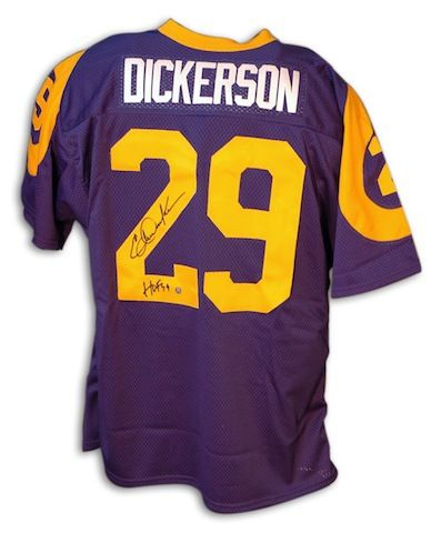 5fb27266e Autographed Eric Dickerson Los Angeles Rams Throwback Blue Jersey with HOF  99 Inscription