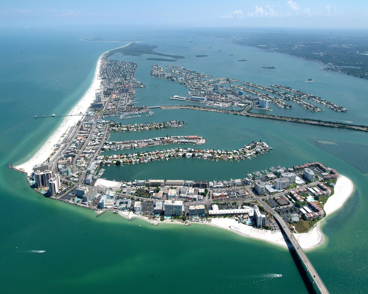 Aerial of clearwater beach shot from the south
