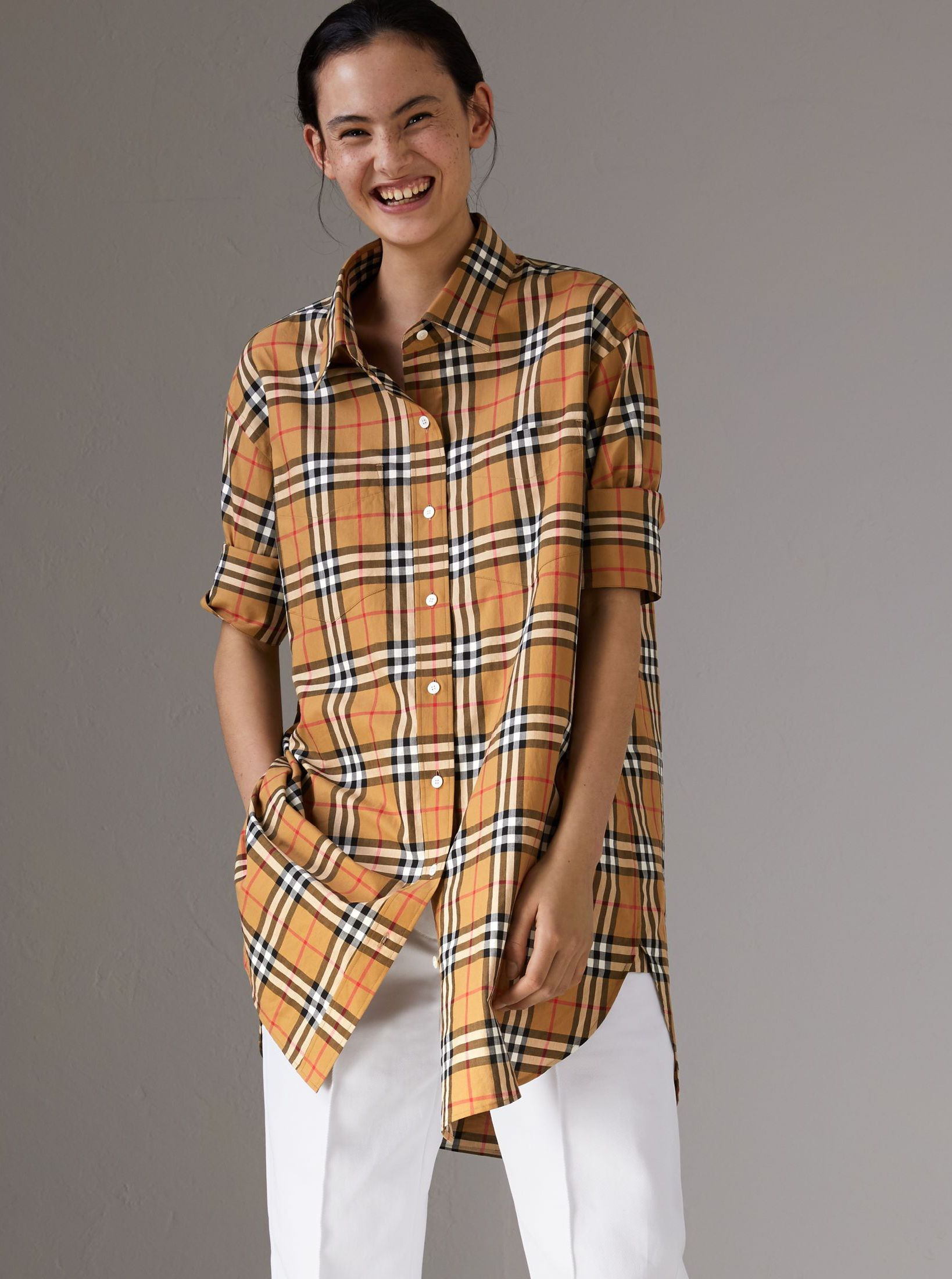 7a22f3f49d74 An oversized cotton shirt in  Burberry  Vintagecheck – a small plaid first  used in the 1960s
