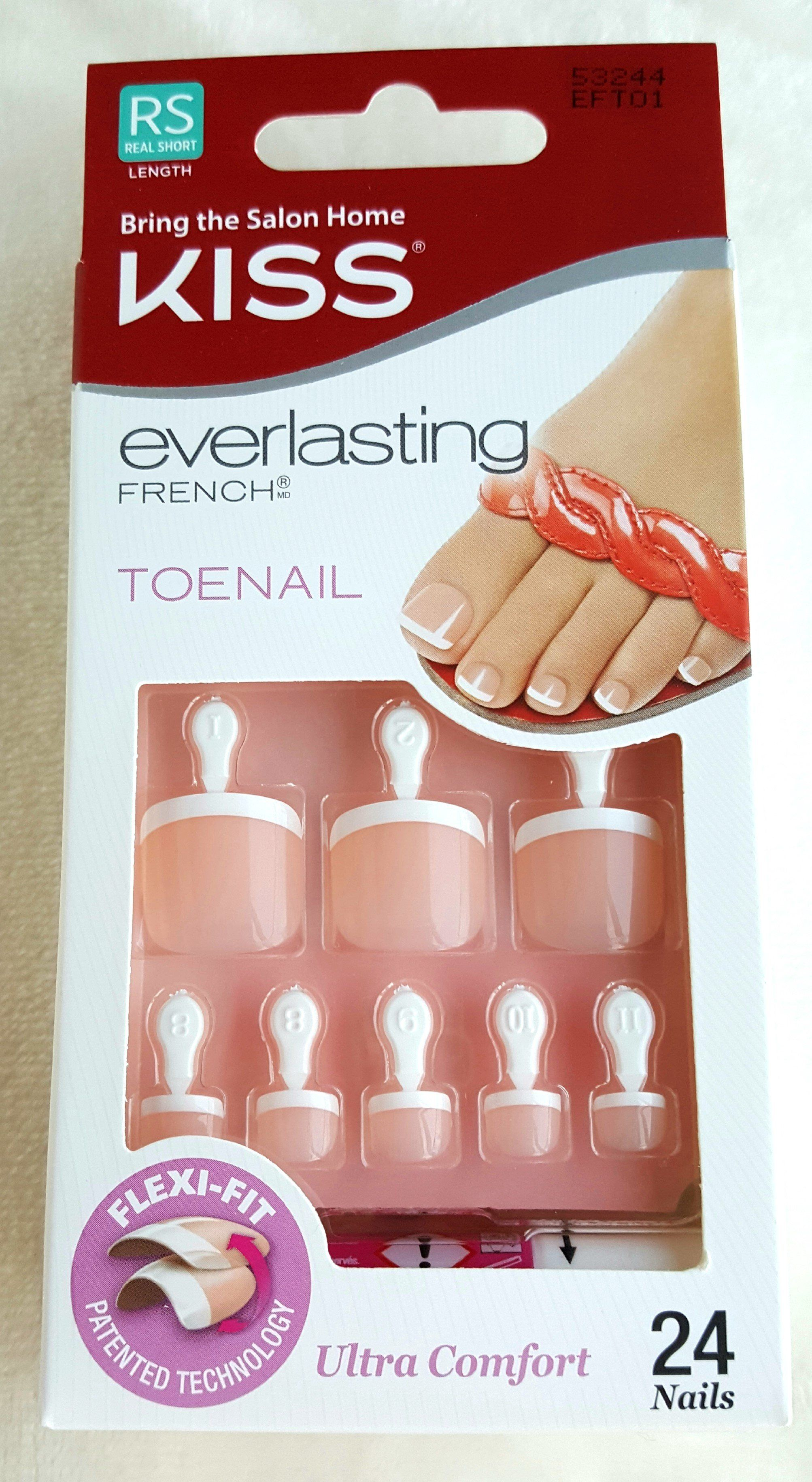 KISS 24 Glue-On Toenails EVERLASTING FRENCH Ultra Comfort WHITE TIPS ...