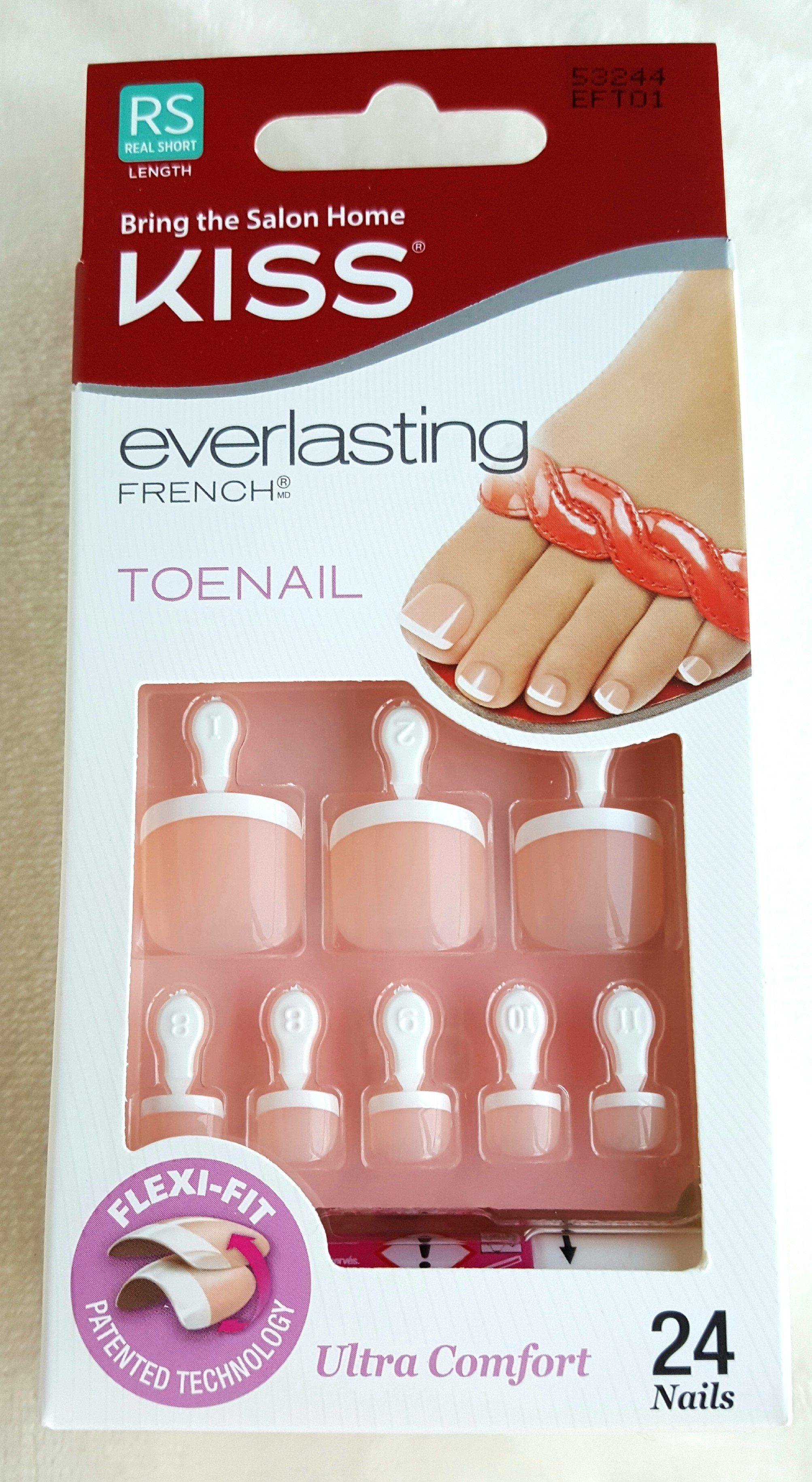Kiss 24 Glue On Toenails Everlasting French Ultra Comfort White Tips 53244 Toe Nails Impress Nails Pretty Toe Nails