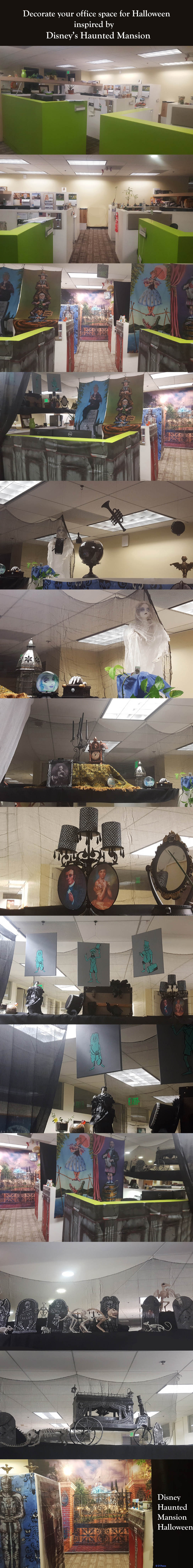 Haunted Mansion inspired Halloween decorations at the office - Halloween Office Decorations Ideas
