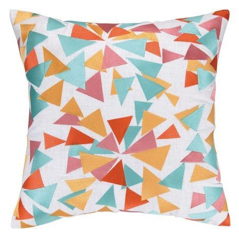 Confetti Design Orange and Turquoise Pillow