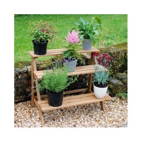 3 tier wooden plant stand etagere patio yard garden flowers plants