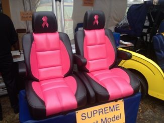 Supreme Sport Golf Cart Seat shown with custom embroidery! | golf