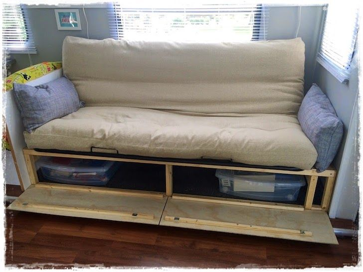 Sofa Opens Up For Lots Of Storage Rv Amp Camping Ideas