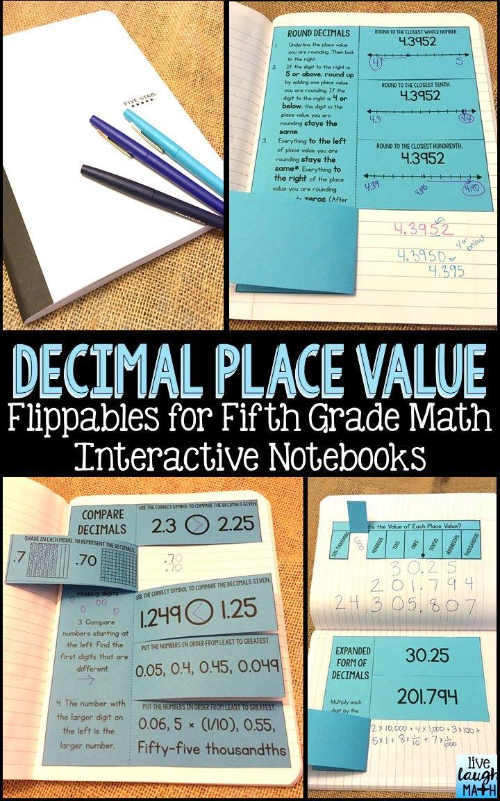 Math Interactive Notebook: Grade 5 Decimal Place Value Foldables ...