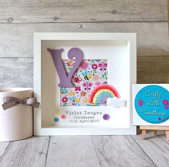Personalised Rainbow Box Frame, Personalised Gift, Nursery Decor ...