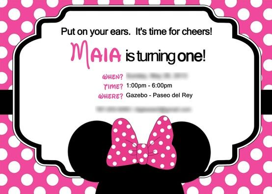 Disneys Minnie Mouse Themed First Birthday Invitation Custom Party Invitations By Pink Studios Pinkstudios Minniemouse Themedbirthday