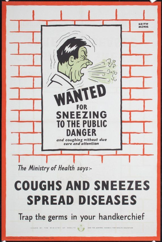 Photo of Original 1940s British World War II Health Poster MONK – Mar 25, 2014 | PosterConnection, Inc. in CA