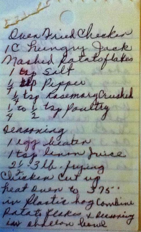 Vintage Handwritten and Old Recipes on RecipeScans.com Oven Fried Chicken