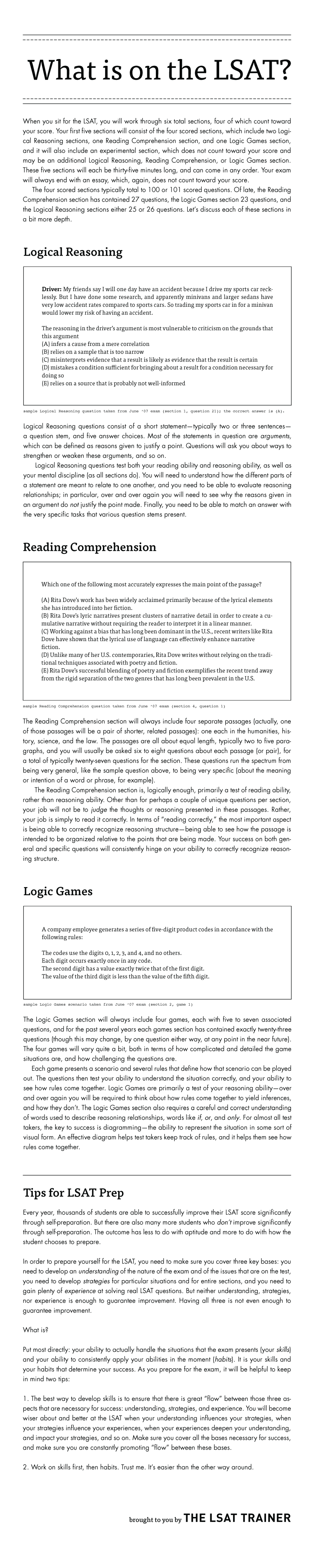An infographic about what is on the LSAT logical