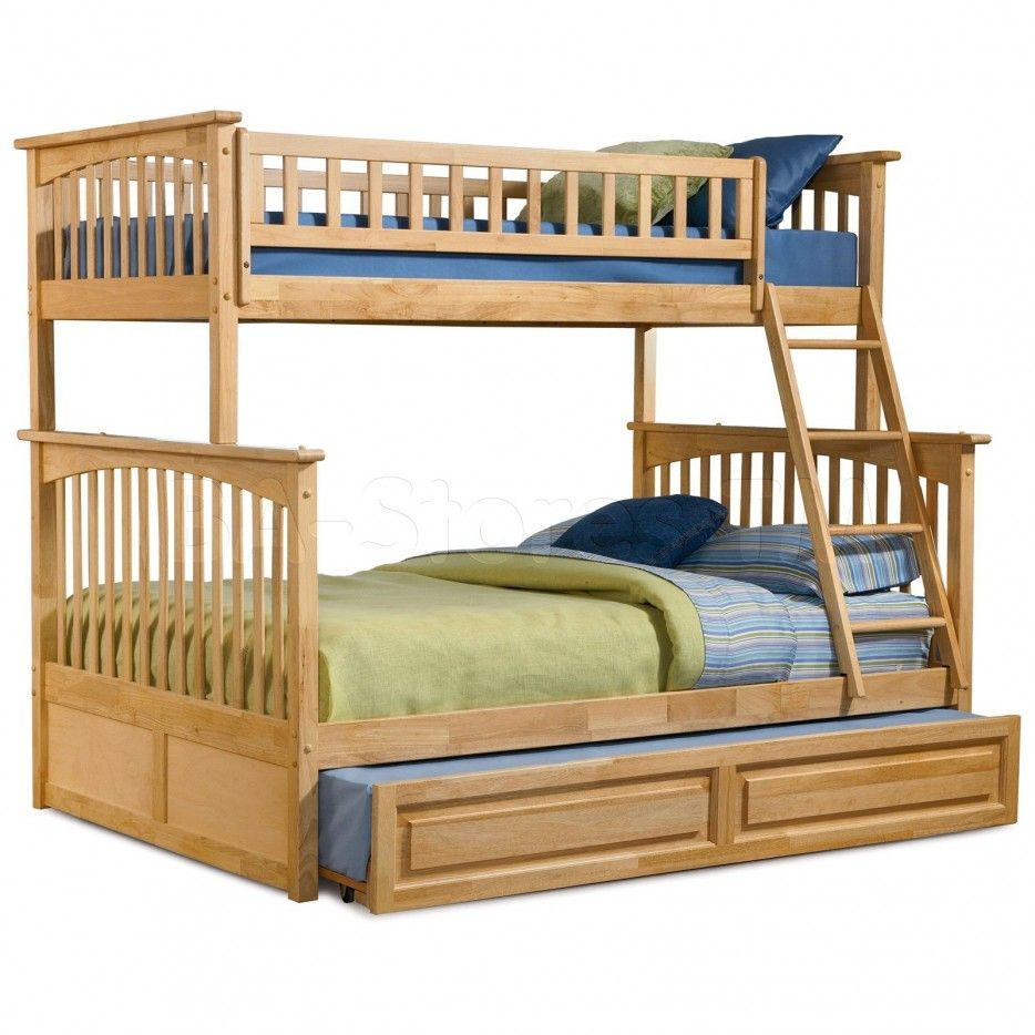 Bunk Bed Presenting Light Brown Finish Varnished Wooden Triple Bunk Bed Having Wooden Storage Bed Striped Ligh Cheap Bunk Beds Bunk Bed With Trundle Bunk Beds