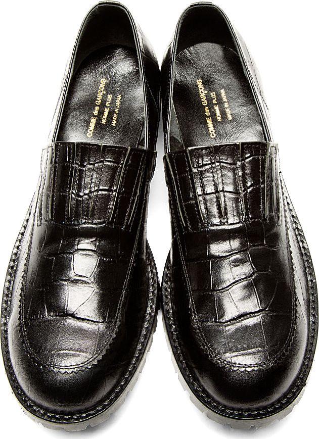 e32f4f5265be05 Comme Des Garçons Homme Plus  Black Croc-Embossed Leather Loafers ...