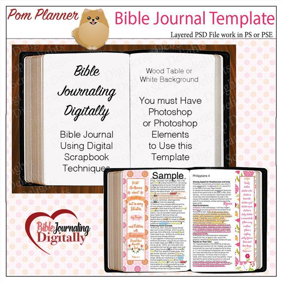 Layered Template for Bible Journaling Digitally with Photoshop or