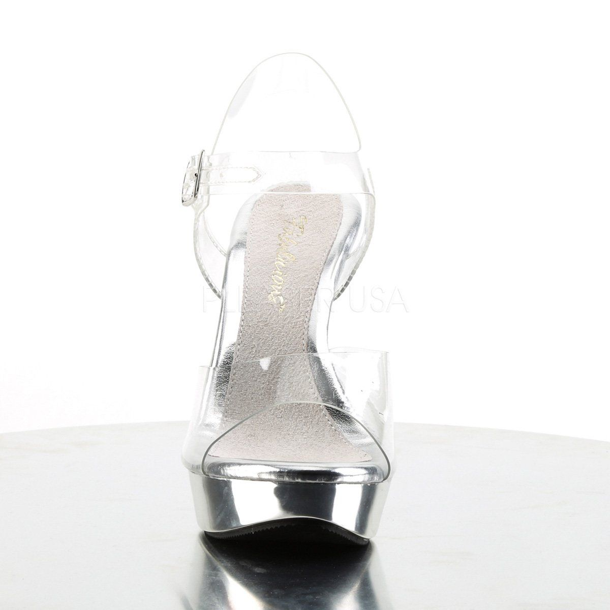 Fabulicious COCKTAIL-508 Women/'s Clear Silver Chrome Platform Ankle Strap Sandal
